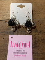 Rose Flower Cross Earrings