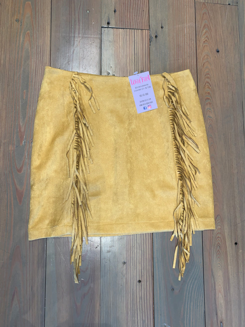 Suede Fringe Mini Skirt