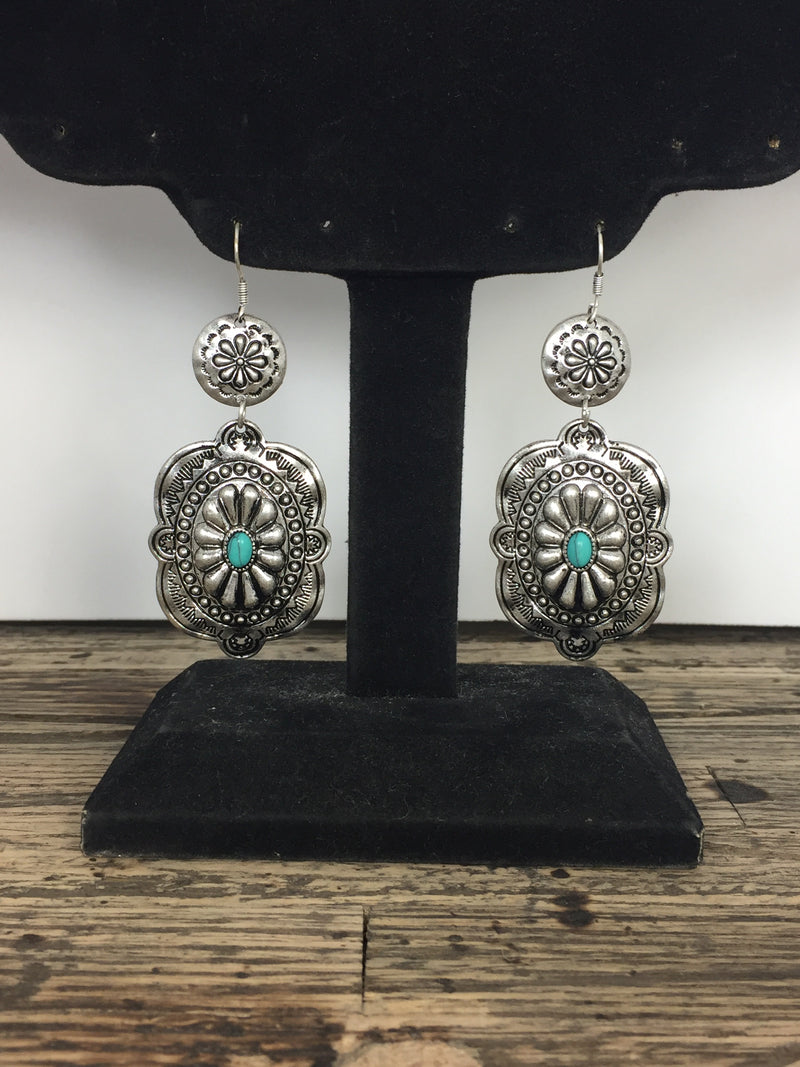 Concho Dangle Earrings with Faux Turquoise