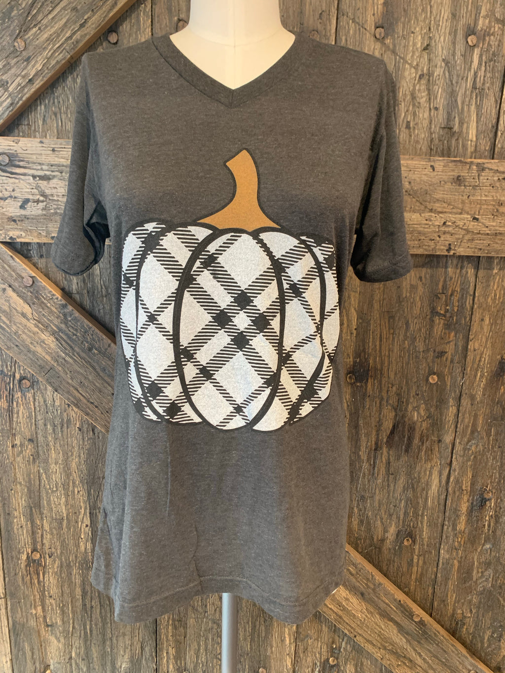 Black Plaid Pumpkin Tshirt
