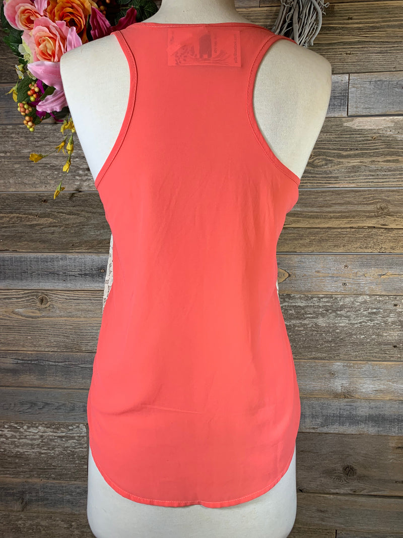 Embroidered Coral Tank