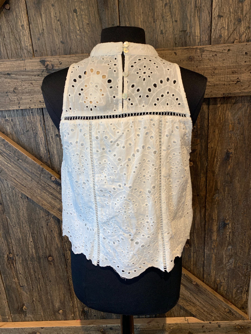 Rain Drop Eyelet Mock Neck Tank
