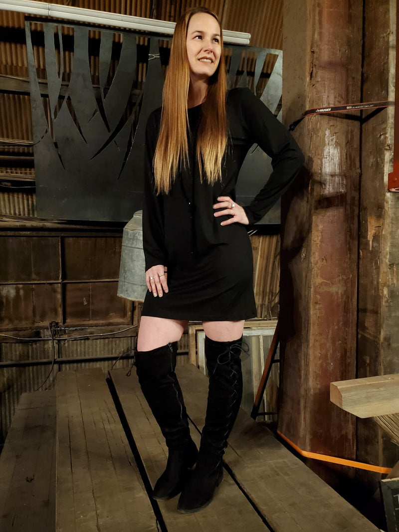 Black Fitted Long Sleeve Dress