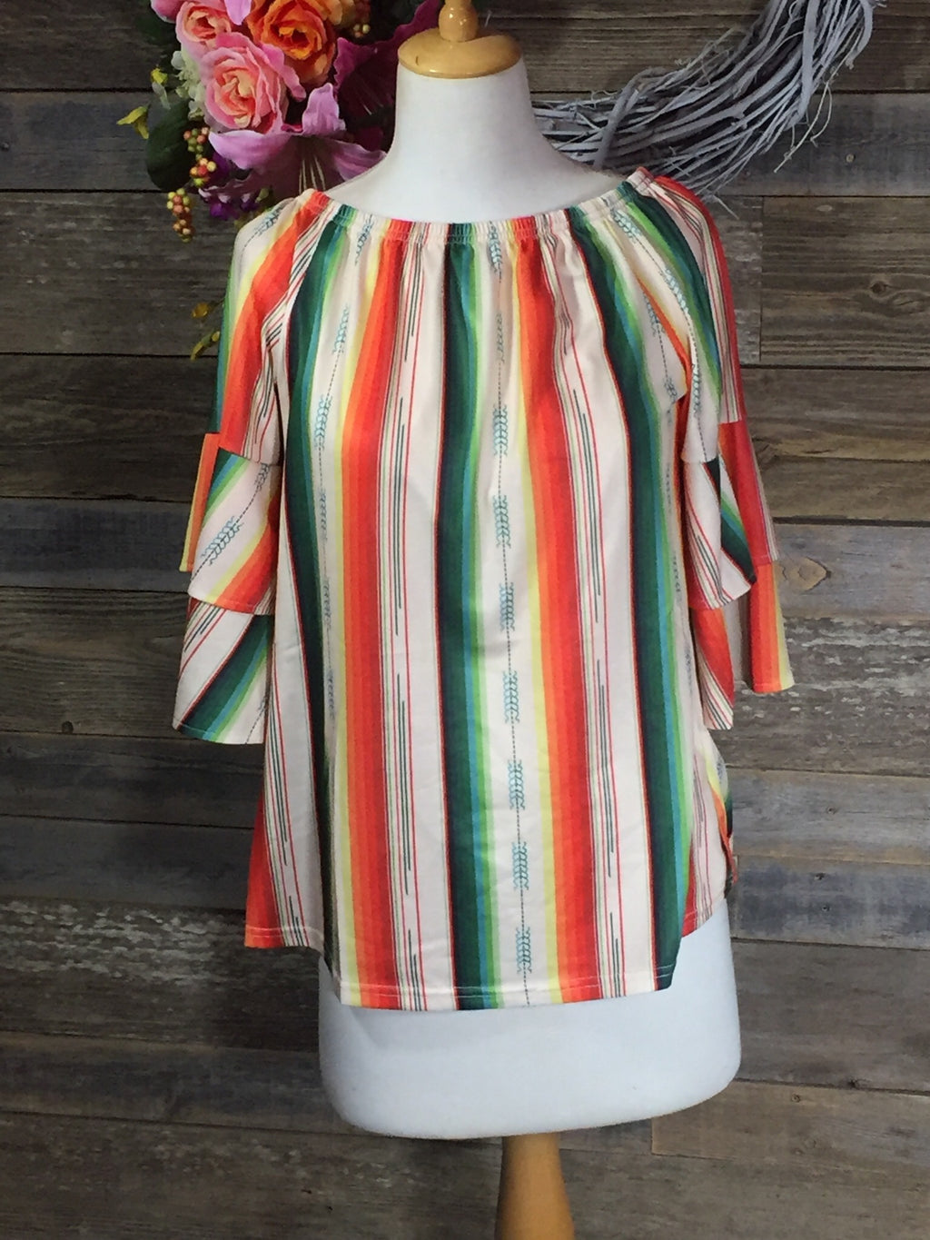 Serape Bell Sleeve Off the Shoulder Top