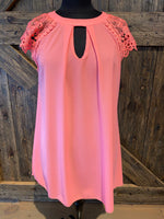 Pink lace shoulder dress