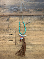 Bull Turquoise Necklace with Leather Tassel with Earrings
