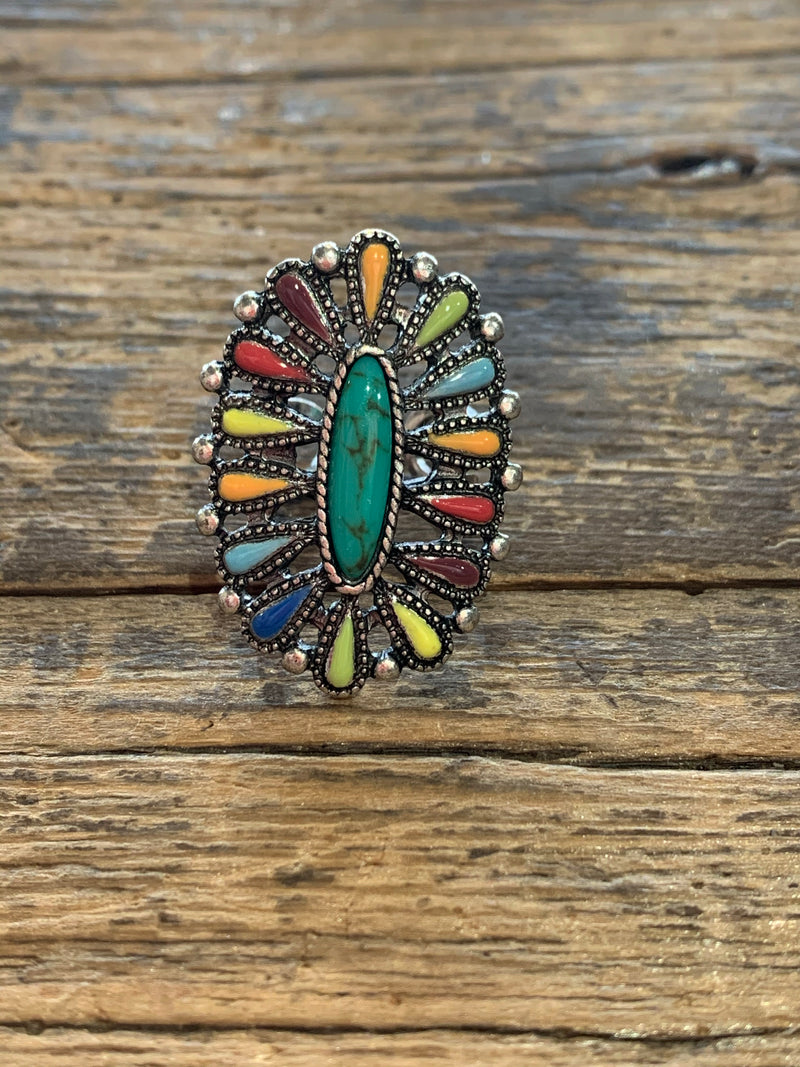 Turquoise Cluster Ring (Adjustable)