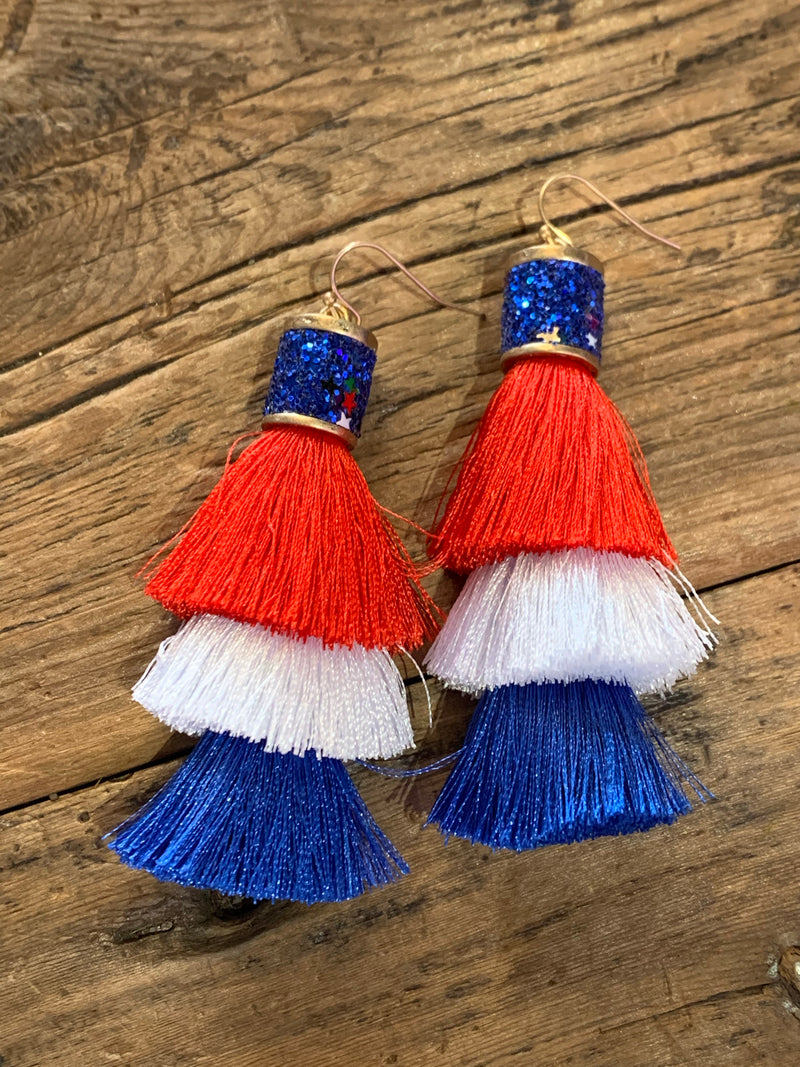 Red White & Blue Tassel Earrings