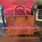 Sunflower Tooled Leather Handbag