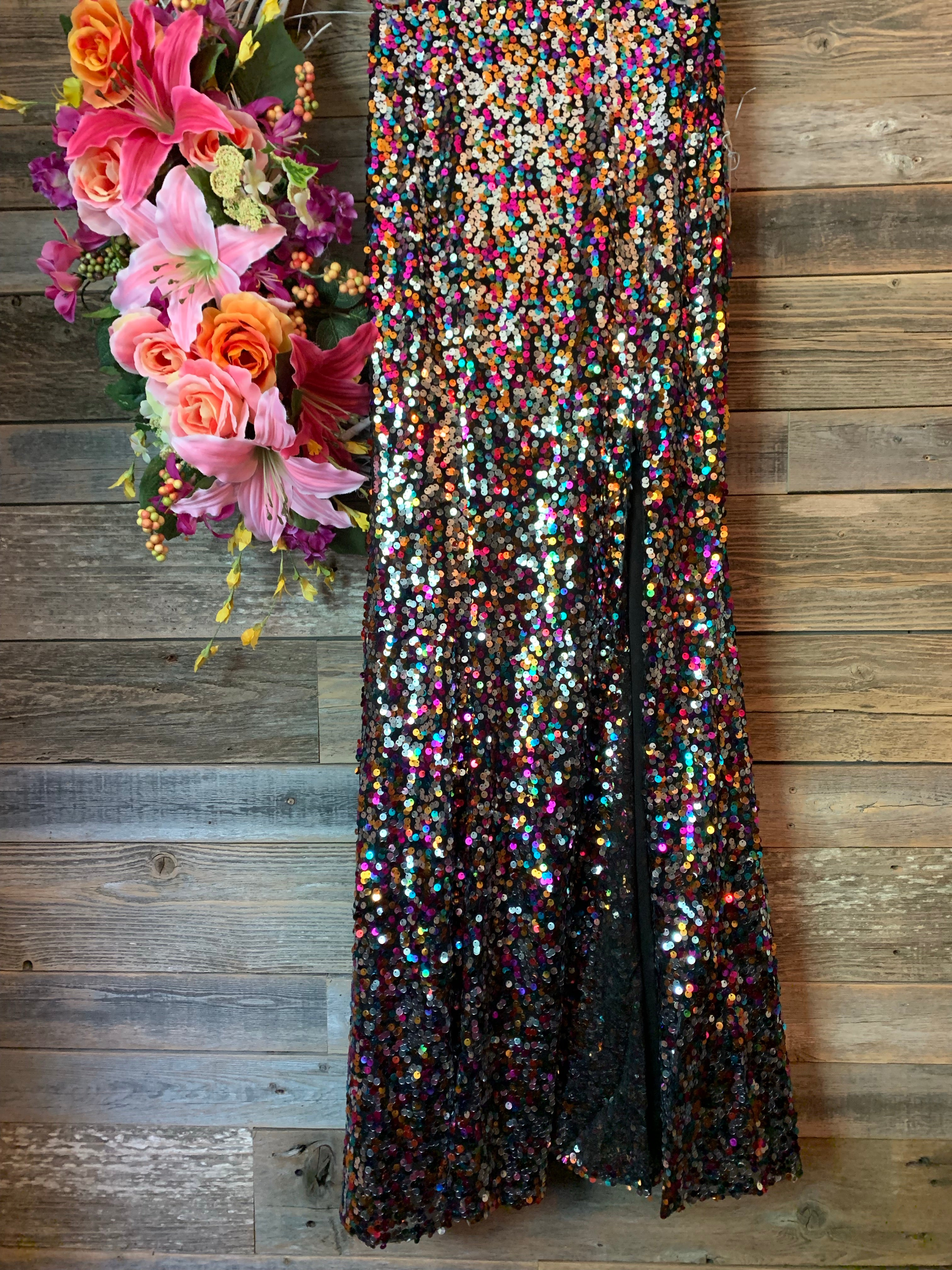 Sequin Maxi Skirt with Slit Multi