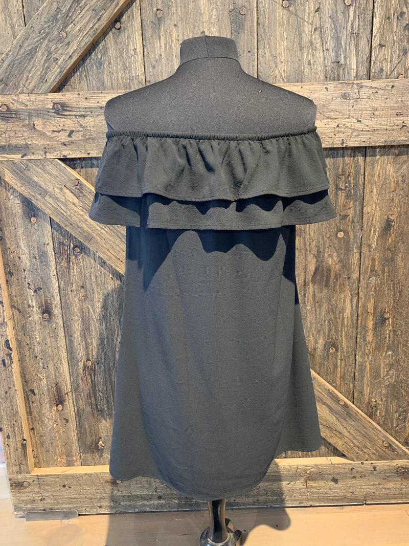 Black Ruffle Off the Shoulder Dress