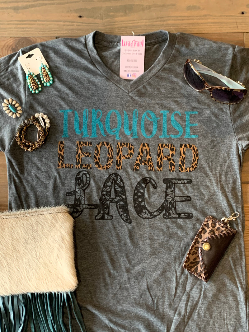 Turquoise Leopard Lace TShirt