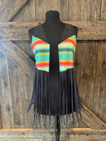 Black Fringe Serape Cross Vest