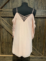 Peach Chiffon Cold shoulder Dress with Lattice Back