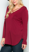 Burgundy Criss Cross Long Sleeve Top