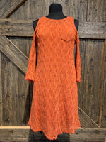 Orange Crochet Dress with Pocket