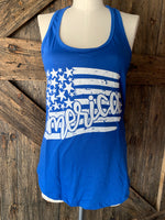 """America"" Flag Tank Red or Blue"