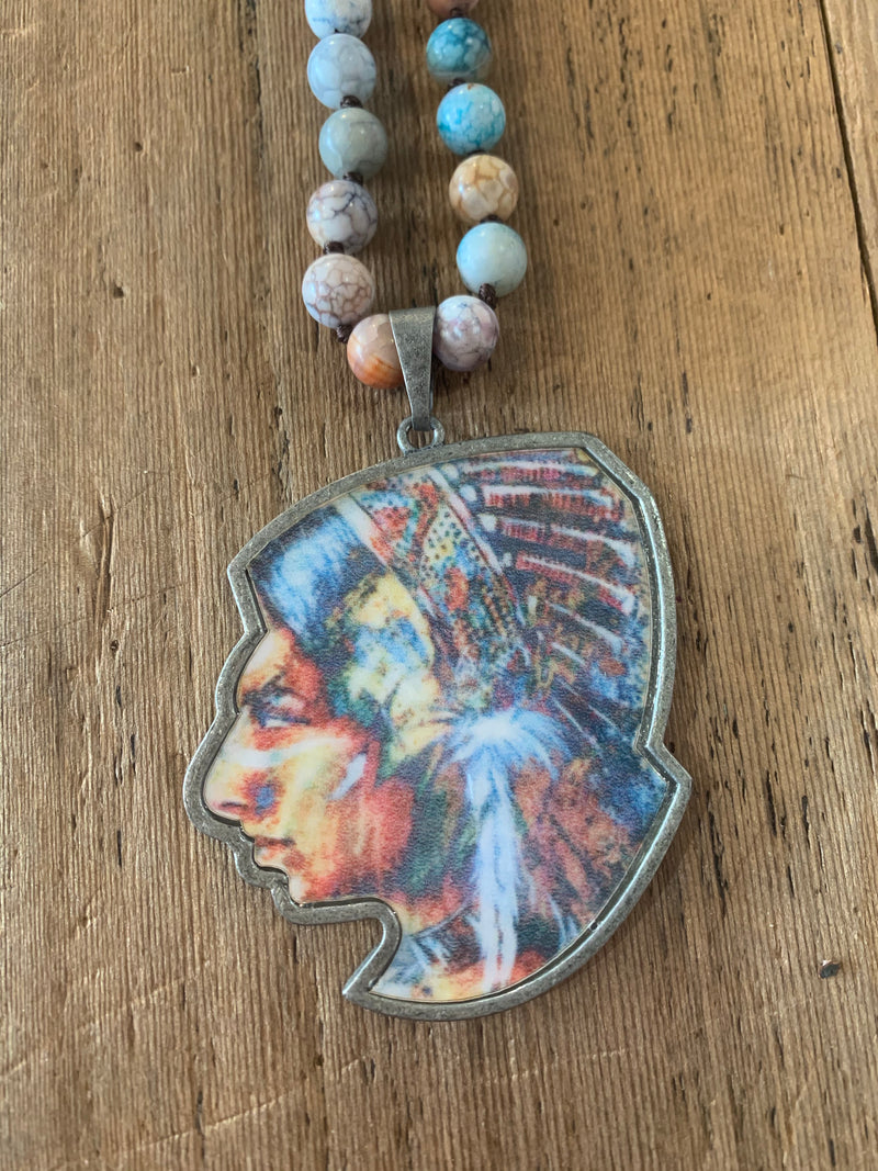 Beaded Indian Charm Necklace