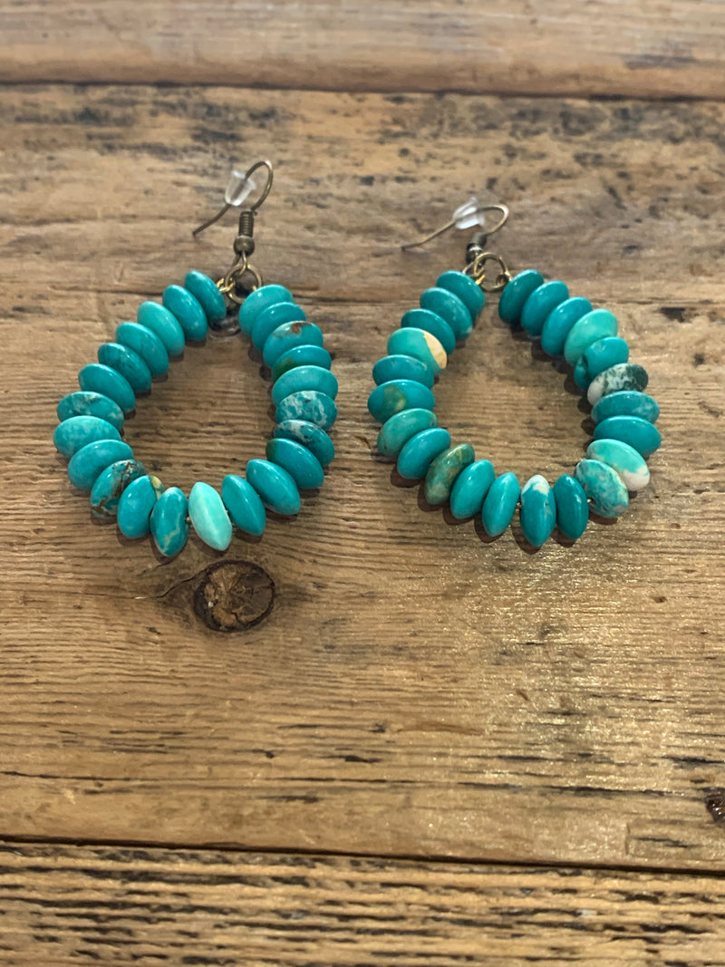 Turquoise Stone Loop Earrings