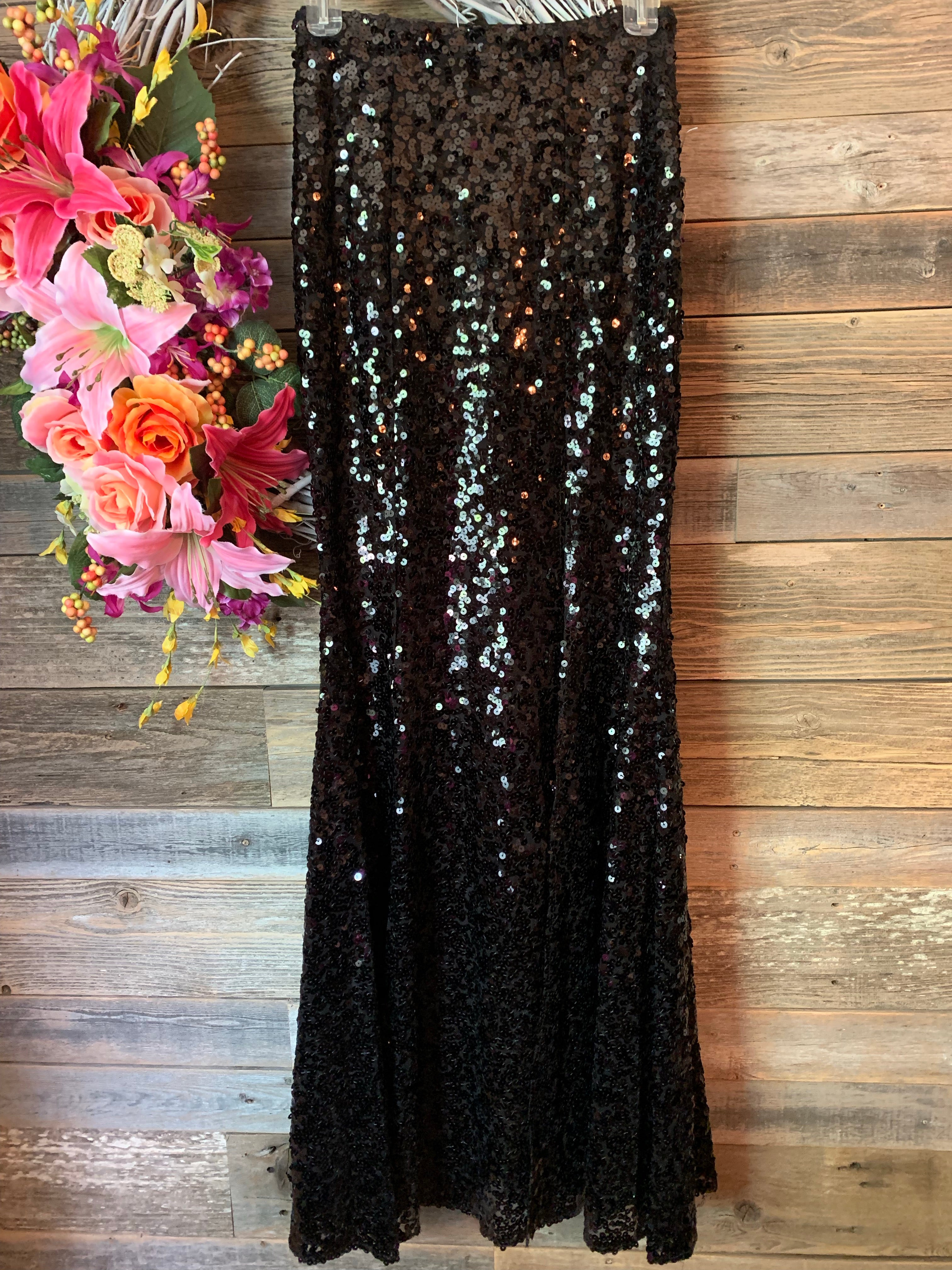 Sequin Maxi Skirt with Slit Black