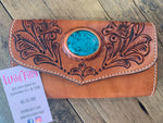 Turquoise Stone Leather Wallet