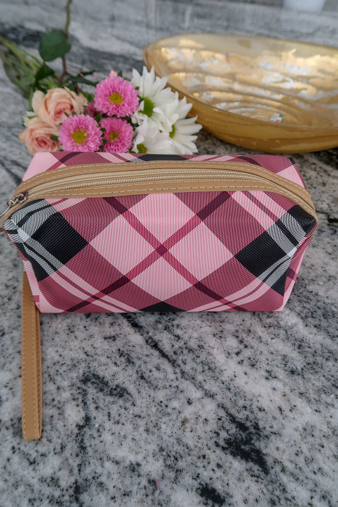 Pink Plaid Makeup Bag