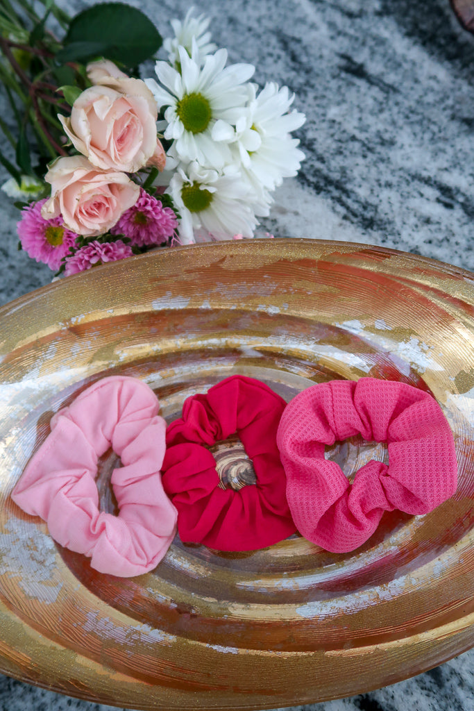 Shades of Pink Hair Scrunchies (3 pack)