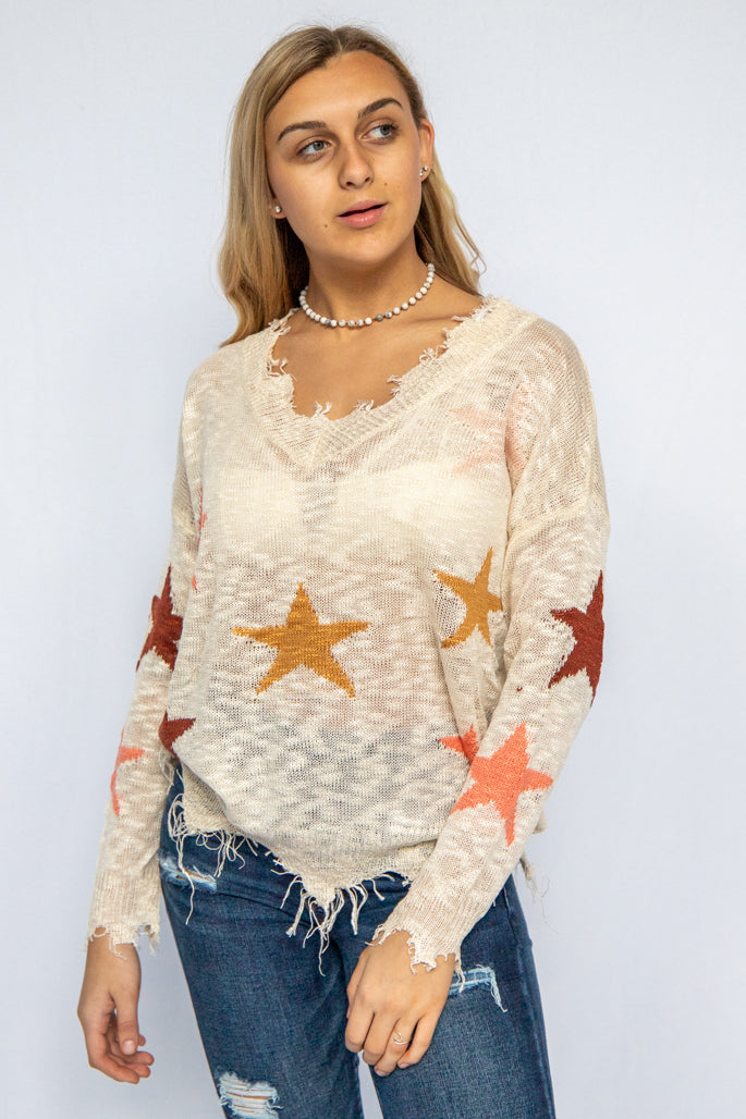 You're a Star Frayed Sweater
