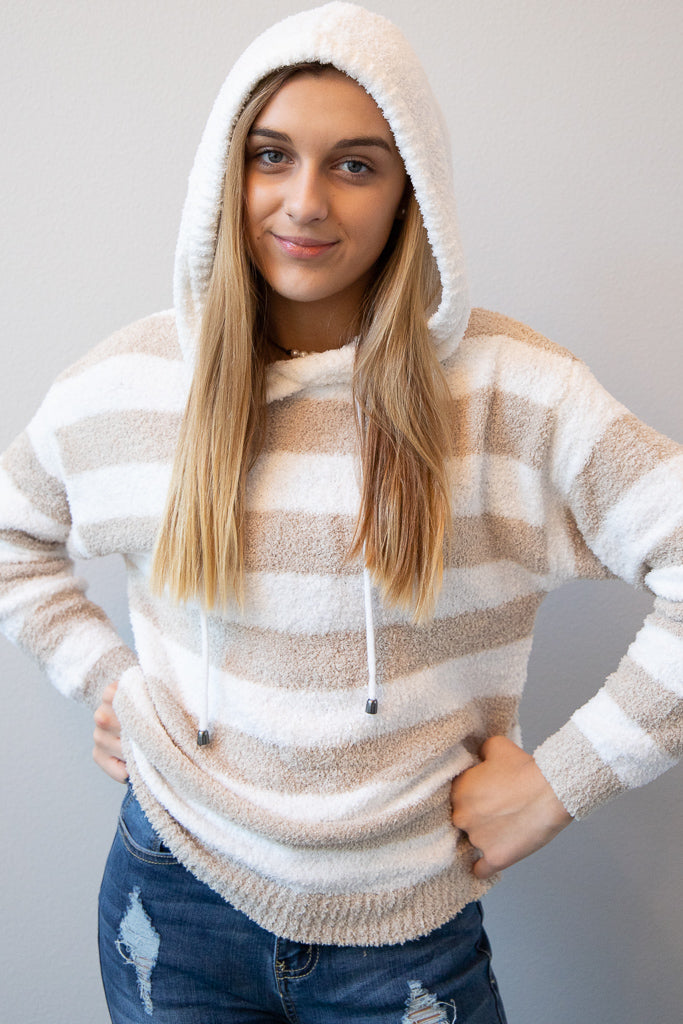 Chilly Mornings Striped Hoodie