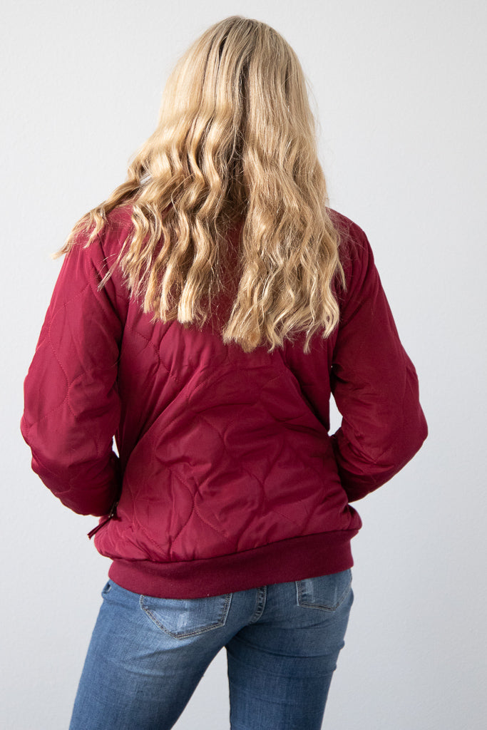 Beauty in Burgundy Bomber Jacket
