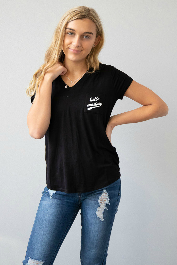 Hello Sunshine Black Tee