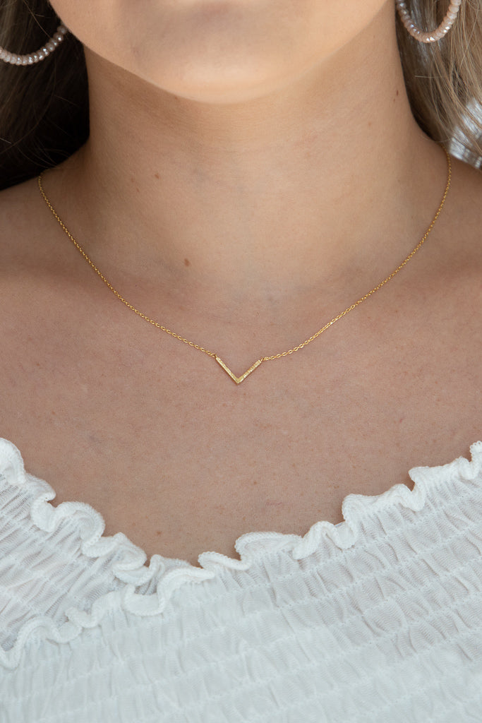 V Mine Dainty Gold Necklace
