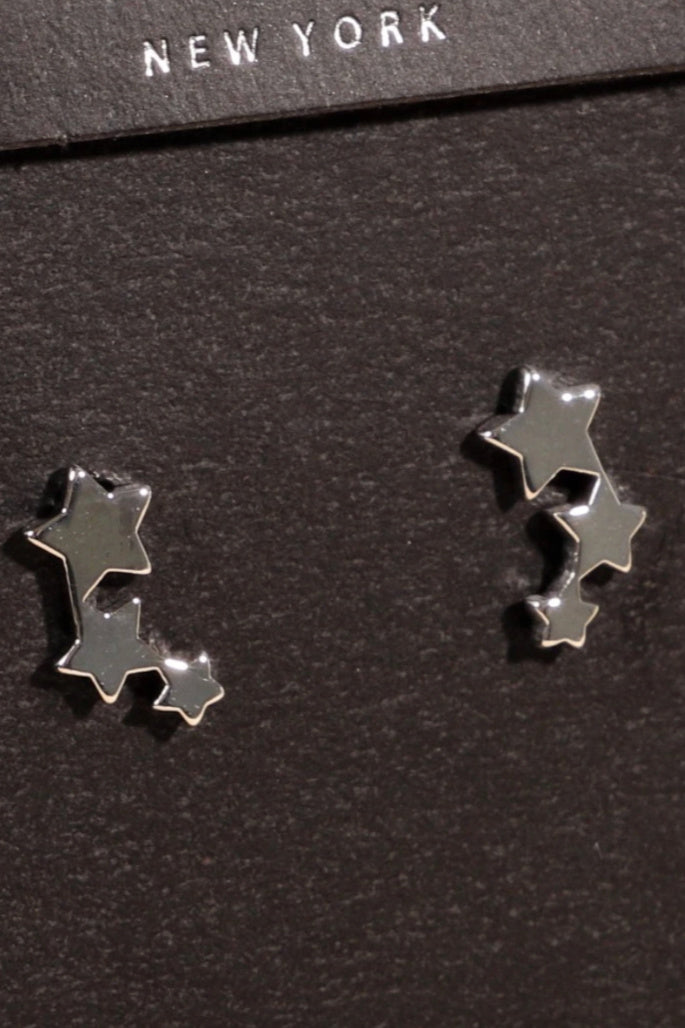 Lucky Star White Gold Stud Earrings