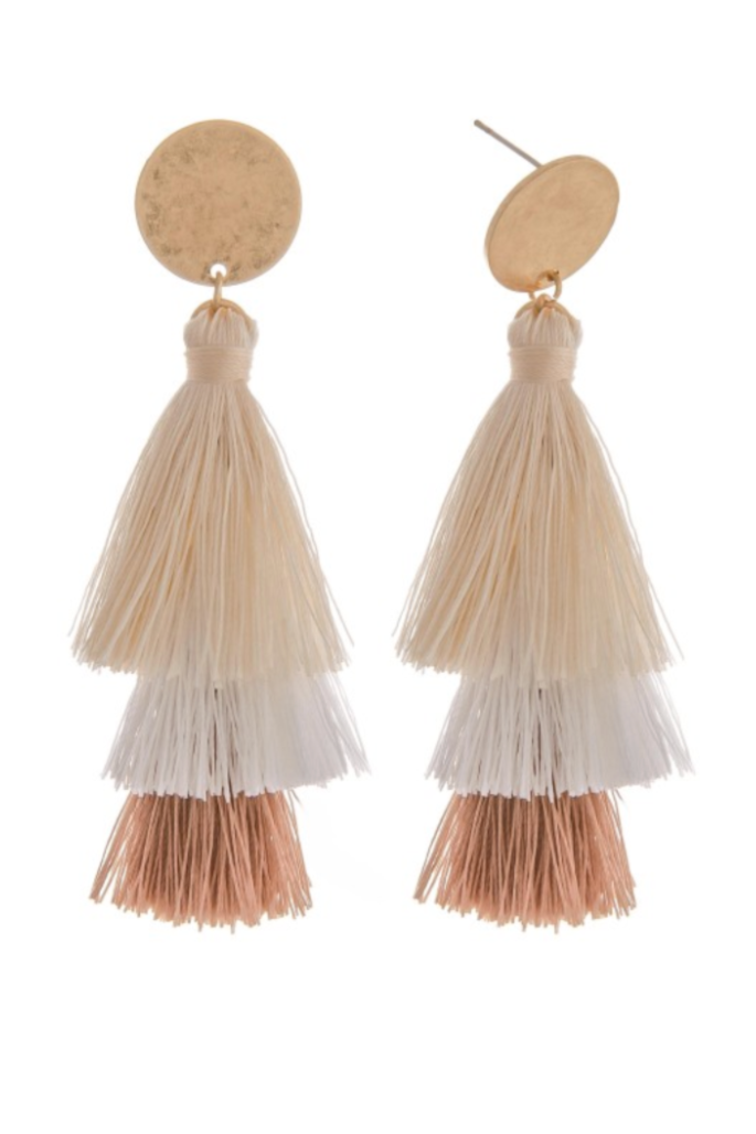 You're the One Beige Tassel Earrings