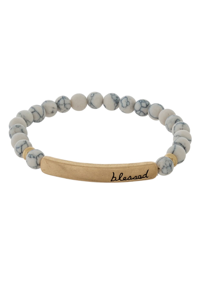 Blessed White Granite Beaded Bracelet