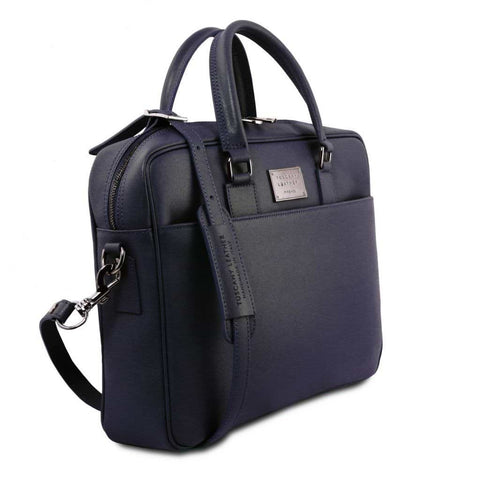 Urbino - Saffiano leather laptop briefcase with front pocket TL141627