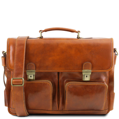 Ventimiglia - Leather multi compartment TL SMART briefcase with front pockets TL141449 Tuscany Leather - getanybag.com