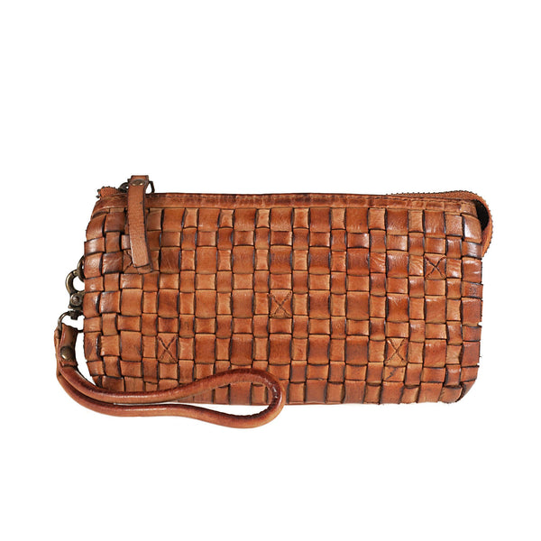 Clutch bag in genuine hand-woven leather TS1395I Women Bags Tuscans