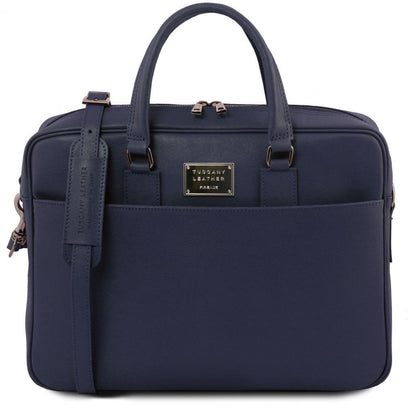 Urbino - Saffiano leather laptop briefcase with front pocket TL141627 Tuscany Leather - getanybag.com