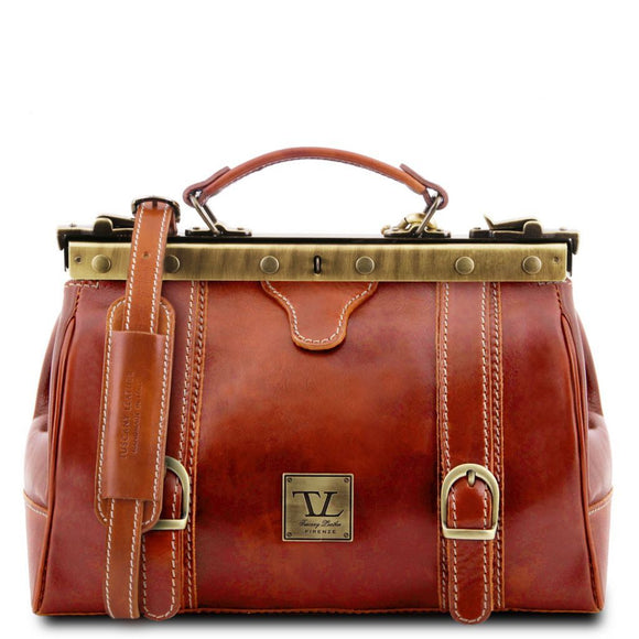 Monalisa - Doctor gladstone leather bag with front straps TL10034 Business Tuscany Leather