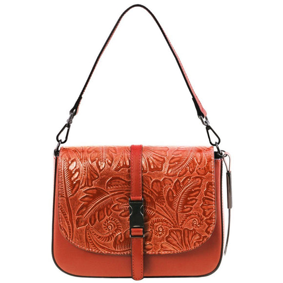 Nausica - Leather shoulder bag with floral pattern TL141755 Women Bags Tuscany Leather