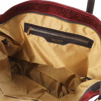TL KeyLuck - Woven printed leather TL SMART shopping bag - Large size TL141568 Tuscany Leather - getanybag.com
