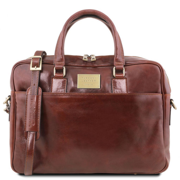 Urbino - Leather laptop briefcase 2 compartments with front pocket TL141894 Business Tuscany Leather