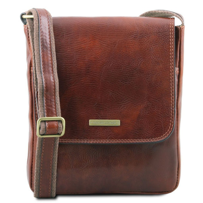 John - Leather crossbody bag for men with front zip TL141408 Tuscany Leather - getanybag.com