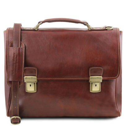 Trieste - Exclusive leather laptop case with 2 compartments TL141662 Tuscany Leather - getanybag.com