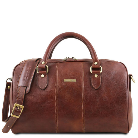 Lisbona - Travel leather duffle bag - Small size TL141658 Luggage Tuscany Leather