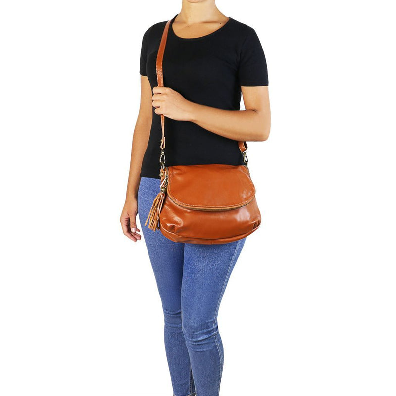 TL Bag - Soft leather shoulder bag with tassel detail TL141223 Women Bags Tuscany Leather