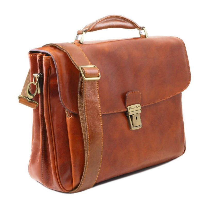 Alessandria - Leather multi compartment laptop briefcase TL141448 Business Tuscany Leather