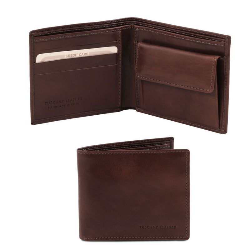 Exclusive 2 fold leather wallet for men with coin pocket TL140761 Men Bags Tuscany Leather