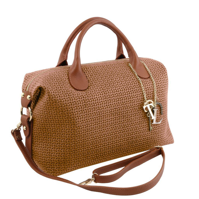 TL KeyLuck - Maxi duffle bag in woven printed leather TL141885 Women Bags Tuscany Leather